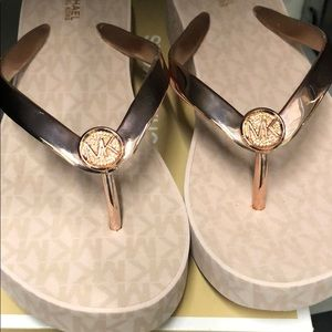 Rose Gold Michael Kors Flipflop